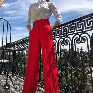 Zara wise leg red trousers pants